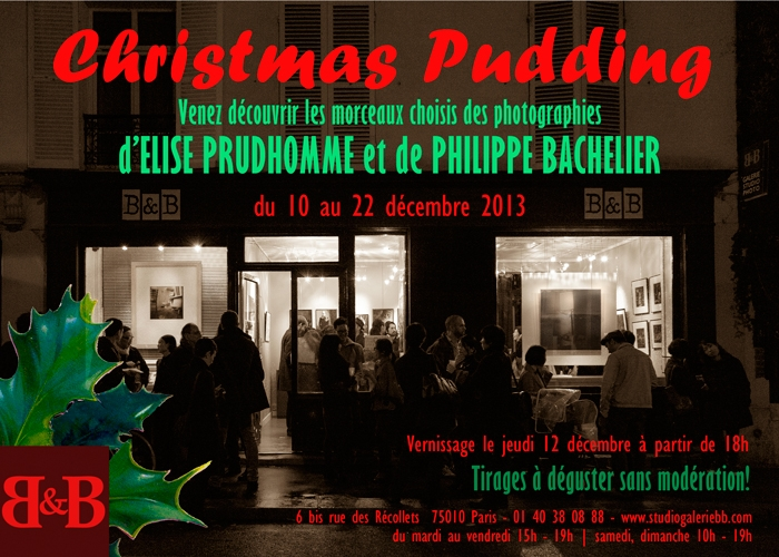 To close the 2013 exhibition season, Elise Prudhomme and Philippe Bachelier, photographers at Studio Galerie B&B present a selection of their photographs from 10 - 22 December 2013.