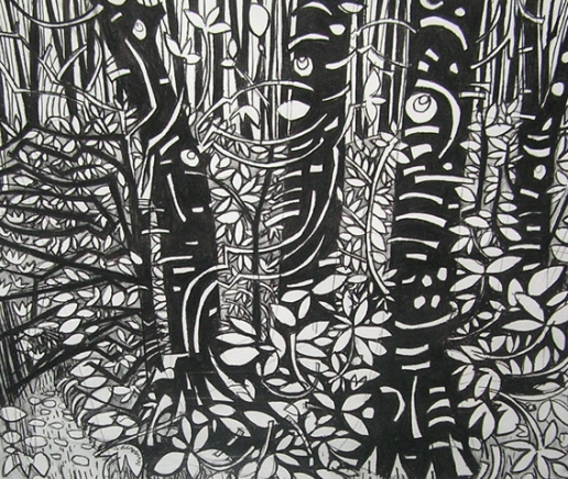 The series of drawings by Gabrielle Bradshaw is those inspired by the Woods of Cushendun in Northern Ireland. A number of sculptures have been included in the show at Studio Galerie B&B to illustrate the interesting link between her drawings and background as a Sculpture.